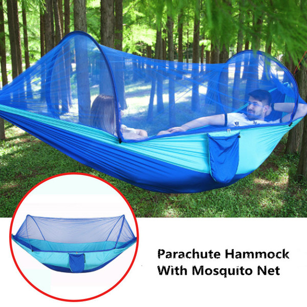 best selling Parachute Hammock Single Double Outdoor Camping Garden Hanging Sleeping Swing Bed Tree Tent Parachute Hammock With Mosquito Net
