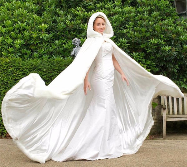 2019 New Sexy Branco Marfim Quente Nupcial Capa De Pele De Inverno Mulheres Jaqueta Casacos De Noiva Longo Casaco De Casamento Da Festa Com chapéu AL07