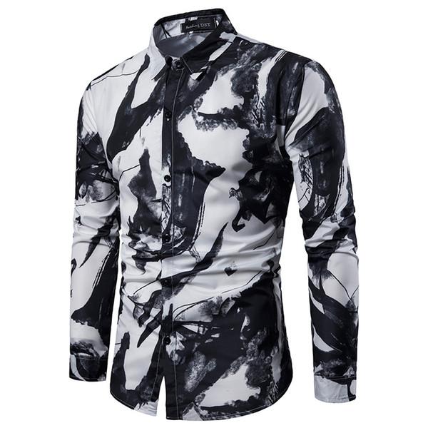 081c83f1c3b 2019 новая рубашка модельер оригинальный весна новый мужской случайный  граффити принт рубашка с длинными рукавами тонкий
