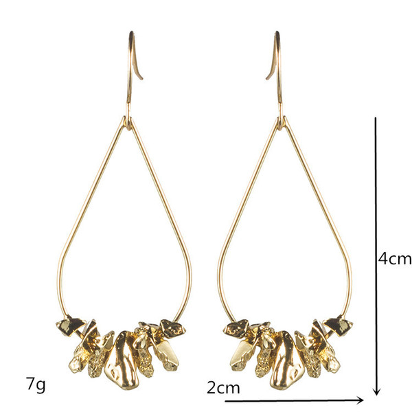 Free Shipping New style Big Simple And Elegant Alloy Stones With Drops Of Water Earrings For Women Bijoux Boucle D'oreille Ear Stud Jewelry
