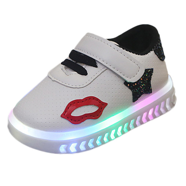 Girls lips stars printed casual shoes LED with lights sports shoes luminous breathable mesh shoes comfortable non-slip