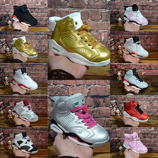 Children Elastic mat Basketball Shoes Jumpman 6s Basket Enfant Red Gold Oreo GATORADE Boy Kids Sneakers Infrared Eur 28-35 Training shoes