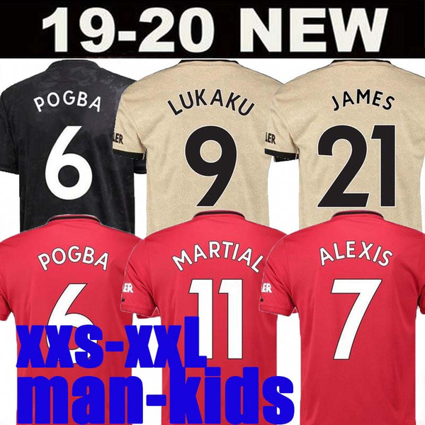 top popular Fans Player Version POGBA LINGARD 19 20 manchester soccer united jerseys utd 2020 RASHFORD football kit MAGUIRE jersey shirt men kids sets 2019