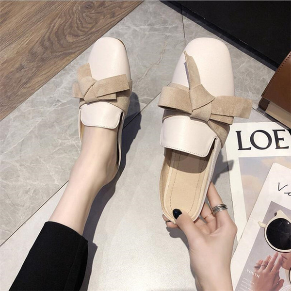Big Bow Knot Designer Lady Sandals INS Fashion Solid Comfortable Women Brand Slippers Vacation Personality Girls Cute Sandal