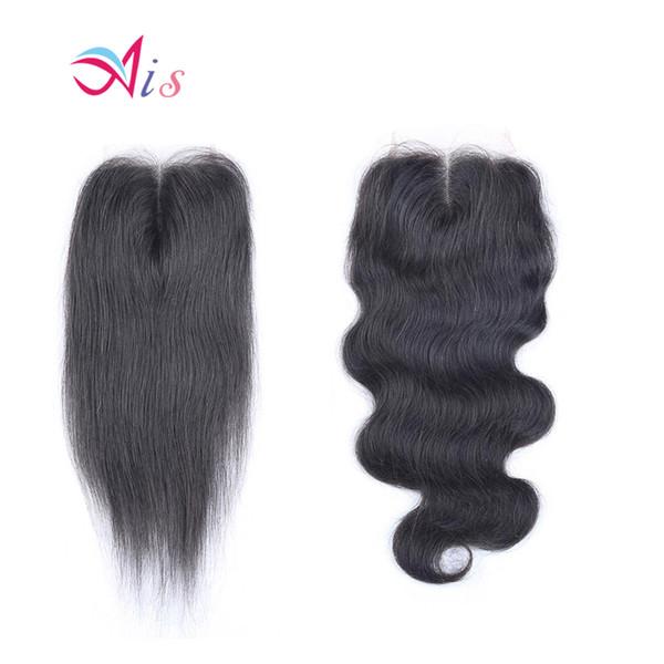 Ais Hair Lace Closure 4X4 Straight Body Wave Natural 1B Color Brazilian Virgin Human Hair Weaves Extensions Indian Peruvian Malaysian Hair
