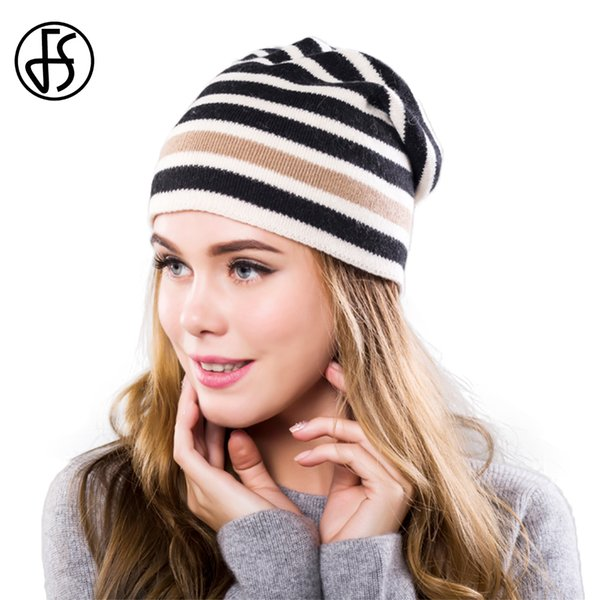 FS Black Striped Winter Cap Cashmere Knit Hat For Women Casual Stretch Baggy Slouchy Hip Hop Female Warm Ski Skullies Beanies