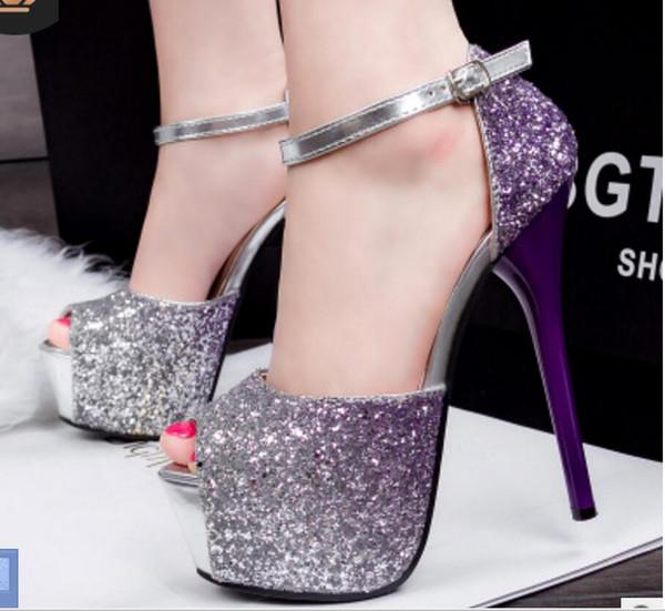 Novo estilo Super-salto alto sexy cor gradiente boate sapatos femininos cor da plataforma à prova d 'água fishmouth sandálias festa dança tamanho grande