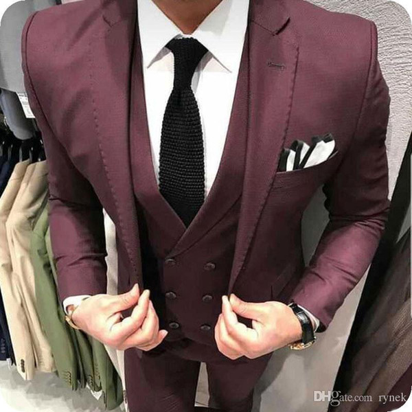 Latest Burgundy Men Suits for Wedding Man Suits Navy Blue Groom Tuxedos 3Piece Slim Fit Groomsmen Blazers Black Costume Homme Evening Party
