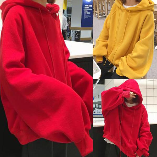 Hot Sale Korean Women Lantern Long Sleeve Solid Color Hoodie Loose Student Coat