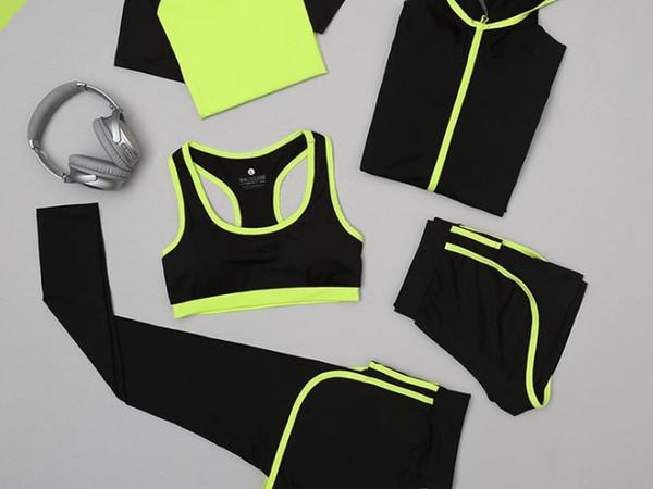 New Yoga Kleidung Anzug eng anliegende schnell trocknende atmungsaktive Jacke Fitness-Kleidung Laufsport Hosen fünfteiligen Anzug