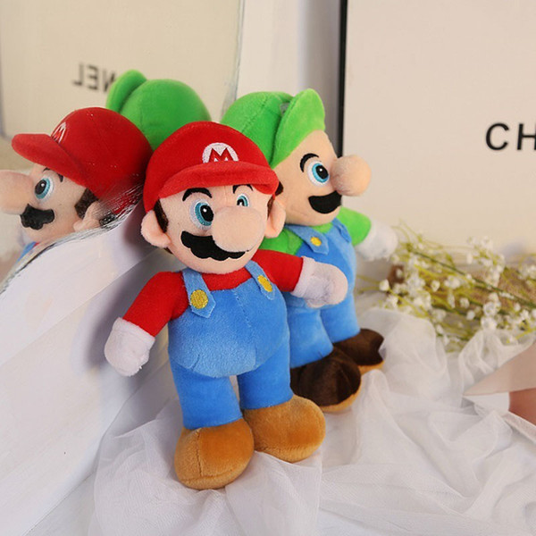 Super Mario Bros Stand Luigi Mario Plush Toys Soft Stuffed anime Dolls for Kids Gifts 10 inch 25 cm
