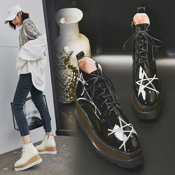 Womans Patent Leather Shoes Lace up And Zipp Ankle Boots Direct Female Rough Heel Round Head Autumn Winter Embroidery Martin Boots Wth Box