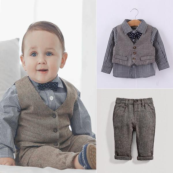 Wholesale Spring Cheap Children Preppy style clothe suits long sleeve plaid bow tie shirt + denim vest +denim pants Children clothes outfits