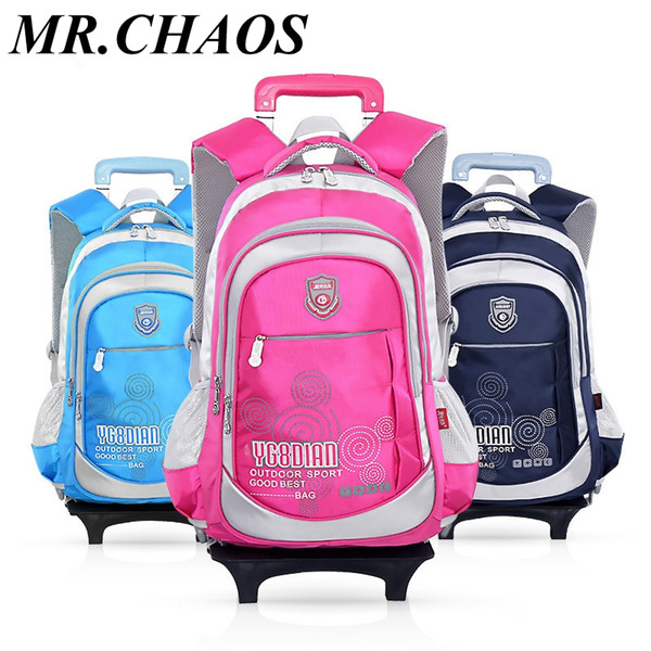 Removable Children School Bags with 2 Wheels Boys Trolley Bookbag Kids Wheeled Bag Girls Backpack travel rucksack Rolling