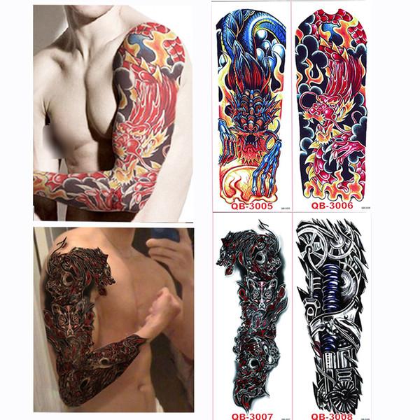 4 pezzi / set Grandi adesivi per tatuaggi temporanei Tatuaggi completi per tatuaggi a maniche lunghe per tatuaggi Black Fire Death Skull Rose