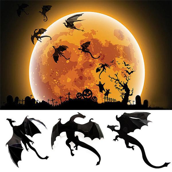 7 Pcs / Lot Gothique Papier Peint Halloween Stickers Muraux Jeu Puissance à Spired 3D Dragon Autocollants Chambre D'enfant Décoration De La Maison DropShipping