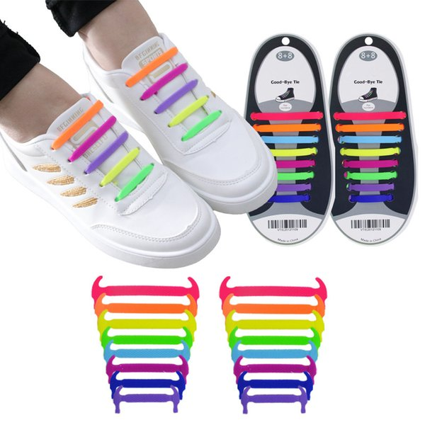 16pcs/pack New Unisex Adult Athletic Running No Tie Shoe Lace Men Women Elastic Silicone Shoelaces All Sneakers Fit Strap