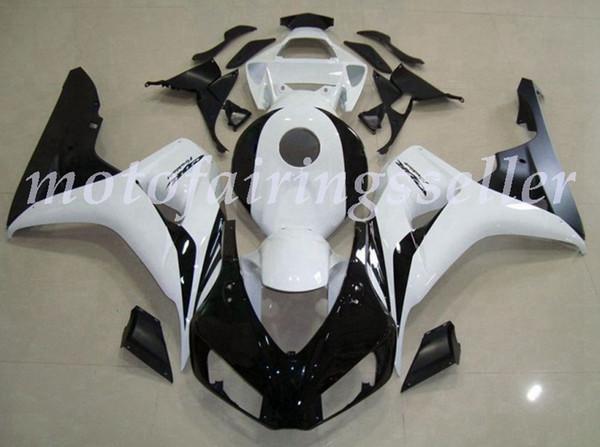 Qualité OEM Nouveaux ABS Carénages complets Kits pour Honda CBR1000RR (2006-2007) CBR1000RR 06 07 Carrosserie Blanc Noir no3 mis