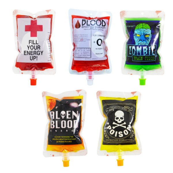 Blood Energy Drink Bags Transparent Vampire Pouch Clear Medical PVC Blood Bags Reusable Halloween Props