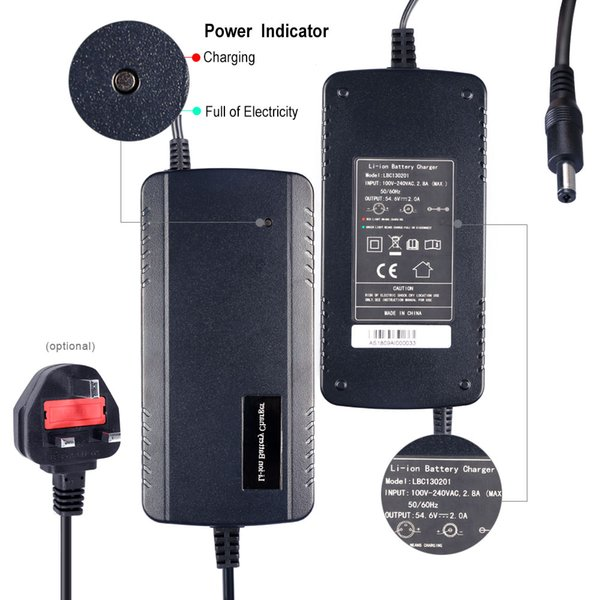 US UK AU EU 48V 2A Electric Bike Battery Charger for Moped Scooter, Electric Mountain Bike Power Supply Used to Charge 54.6V Lithium battery
