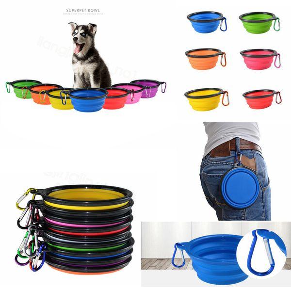 9styles zusammenklappbarer Hund Schüssel Katze Futternapf Reise Wassernapf Feeder Silikon faltbare Lebensmittel Vorratsbehälter 13 * 5cm FFA3133