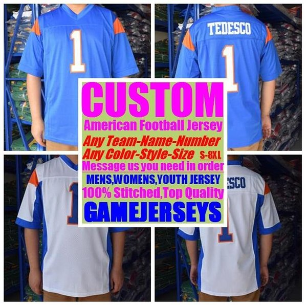 top popular Custom college american football jerseys mens womens youth kids soccer rugby stitched authentic jersey 4xl 5xl 6xl 7xl 8xl Sports clothes 2019