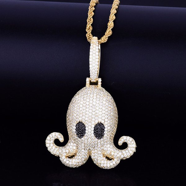 Iced Out Octopus Pendant Necklace With Rope Tennis Chain Men Hip Hop Jewelry Micro Pave Zircon Animal Necklace