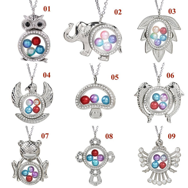 Silver Plated Owl Cross Tree Leaf Frog Magnetic Glass Pendant Pearl Cage Living Memory Charms With Stainless Steel Chain for Jewelry Making
