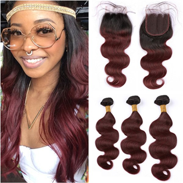 Wine Red Ombre Malaysian Human Hair Body Wave Weave Bundles with Closure #1B/99J Burgundy Ombre Wavy Lace Front Closure 4x4 with Bundles