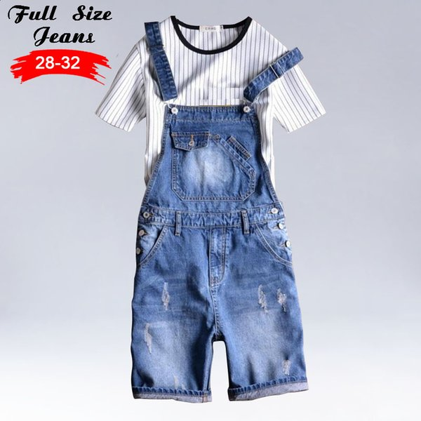 Kinsaga Men'S Vintage Summer Light Blue Plus Size Denim Bib Overalls 4Xl 5Xl Male Short Knee Length Bermuda Jeans Jumpsuits