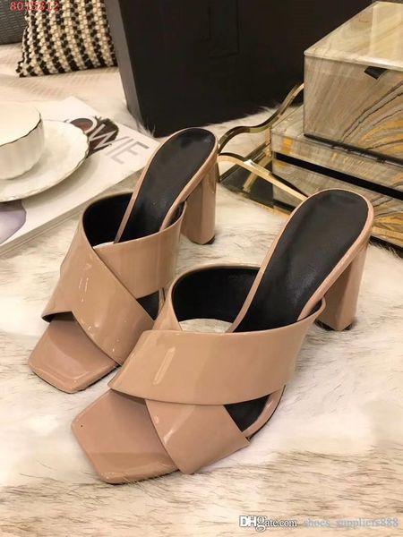 Patentli deri sandalet, bayan terlik, çapraz tip Kalın topuklu, yüksek topuklu terlik ile rahat sandalet kutusu Boyut 35-40