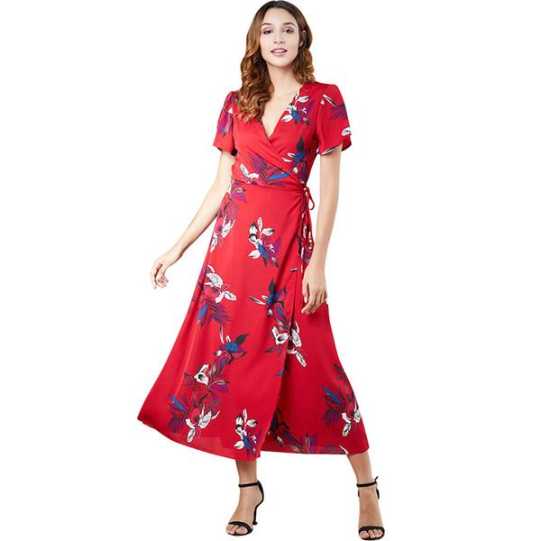 Nuove donne sexy maxi vestito stampa floreale scollo av manica corta elegante abito da donna slim vacanza lungo giallo / rosso / blu