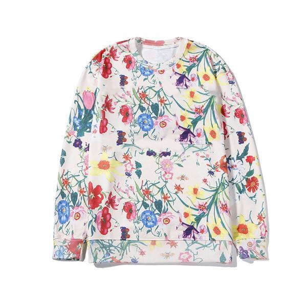 Мужские Дизайнерские Пуловеры Роскошные Цветы Pattern Толстовка Активные Красочные Письма Печати Уличная Одежда Kanye West Бренд Хип-Хоп Мужские Толстовки
