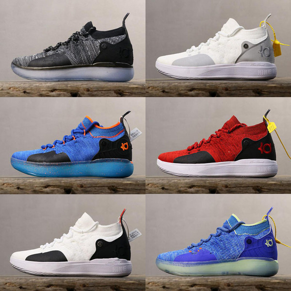 2019 New KD 11 Royal Mammary Cancer Black Moon Kid University Red Kevin Durant Basketball Shoes KD11 Sneakers Size7-12