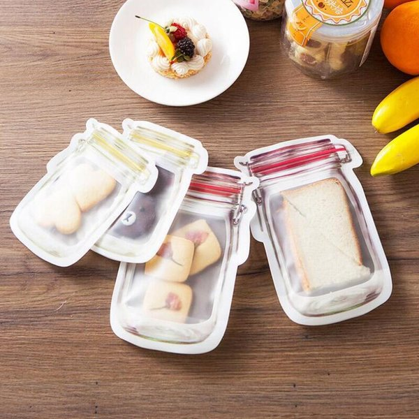 Safe Zippers Storage Bags Plastic Mason Jar Shaped Food Container Reusable Eco Friendly Snacks Bag Food Grade Plastic Storage Bags