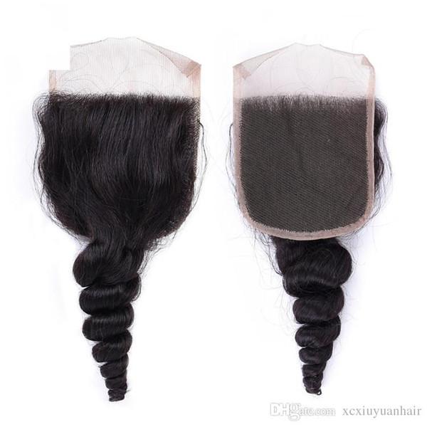 Doğal Renk Brezilyalı Gevşek Dalga Virgin Remy İnsan Saç Dantel Frontal Fabrika Fiyat Gevşek Dalga İnsan Saç 4x4 İsviçre Dantel Kapatma