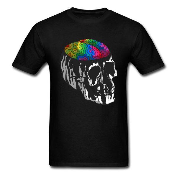 Head Full Of Dreams 2018 Art Design Men T-shirt Skull Print Black Tee Shirt Cotton Tops Plus Size T Shirts Drop Shipping