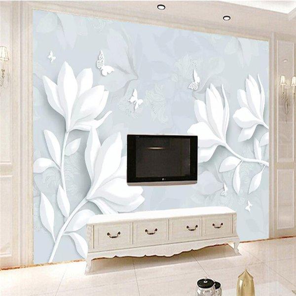 Benutzerdefinierte Größe Wandbild Tapete Moderne Einfache Weiß Relief Magnolia Schmetterling Fotowandpapier Wohnzimmer Schlafzimmer 3D Wohnkultur