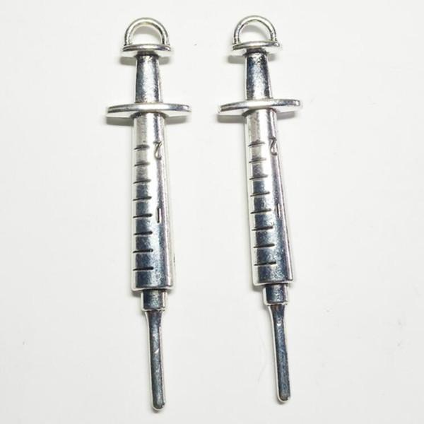 60 adet Charms şırınga tıbbi malzemeleri 62 * 14mm Tibet Gümüş Kaplama Kolye Antik Takı Yapımı DIY El Yapımı Zanaat