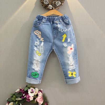 a9800a53a9 Niñas bebés Pantalones de mezclilla Labios Lavar Borlas azules Trapos Moda  niños Pantalones Nueva primavera otoño