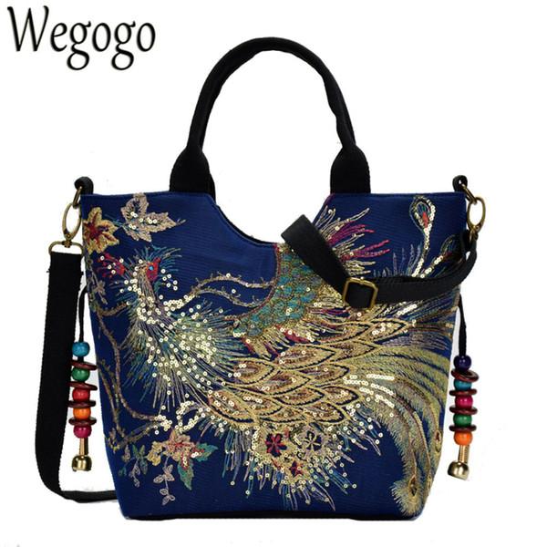 Shiny Sequins Peacock Canvas Women Handbag National Phoenix Embroidered Shoulder Totes Messenger Bag Crossbody Beach Travel Bag Y190702