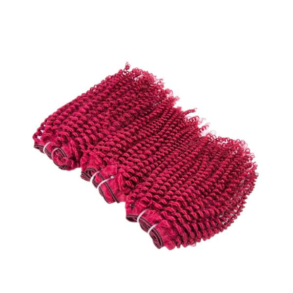 Borgoña de color Afro rizado 100% tramas de cabello humano 3 paquetes vino rojo Borgoña de color virgen cabello humano Weves extensiones 300 g