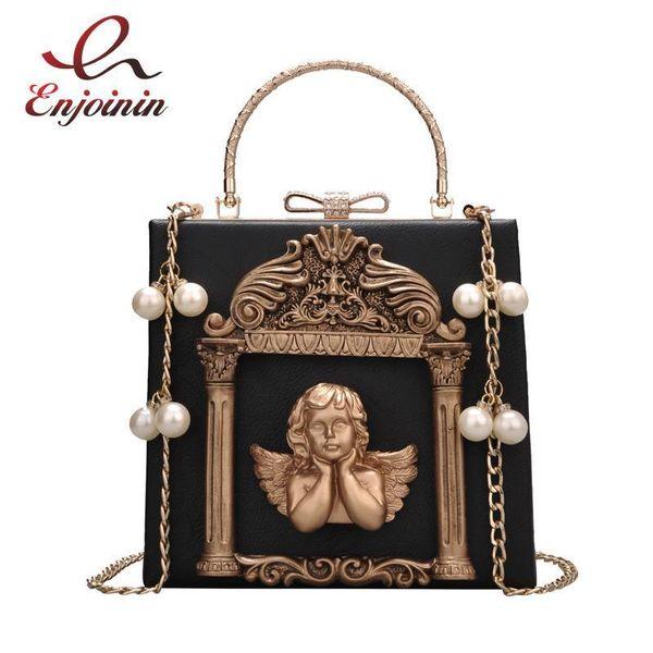 Luxury Fashion Cupid Decals Box Shape Pu Leather Pearl Chain Shoulder Bag Handbag Party Purse Womens Crossbody Messenger Bag