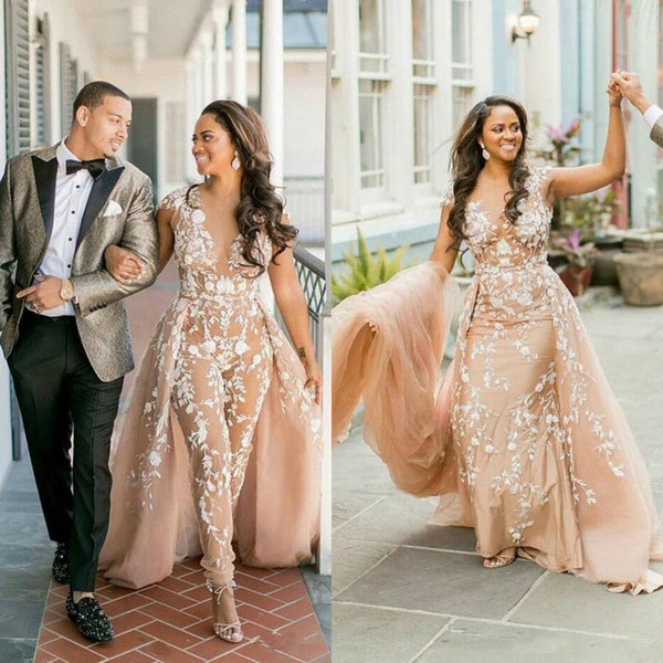 Champagne Women Jumpsuits Wedding Dresses With Overskirts Lace Appliques African Bridal Gowns Pants Suits Plus Size Nigeria Style