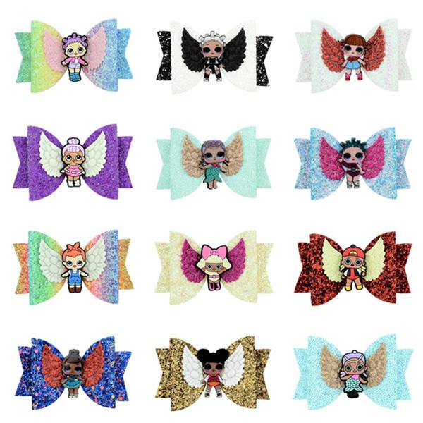 Cartoon Surprise Girls Hairpin Baby Sequin Glitter Bow Clips Girls Bowknot Barrette Kids Hair Boutique Bows Children Hair Accessories A4406