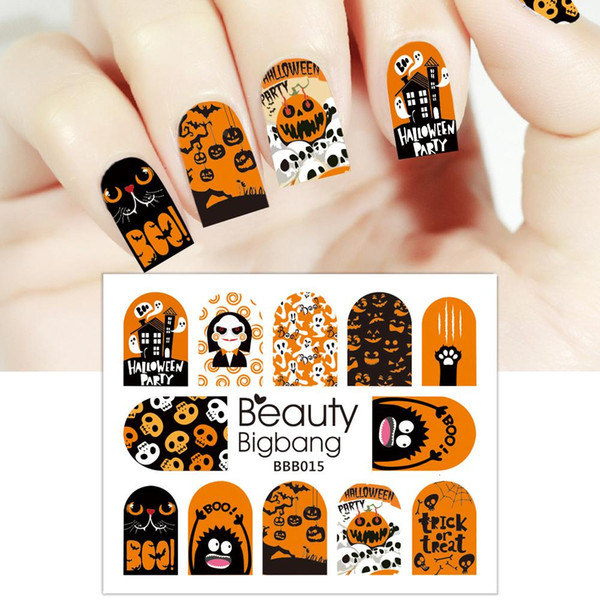 Fahion 1PC Halloween Flower Pumpkin Skull Wizard Manicure Series Water Nail Stickers Decals Manicure Stickers Charm Nail Art Decoration