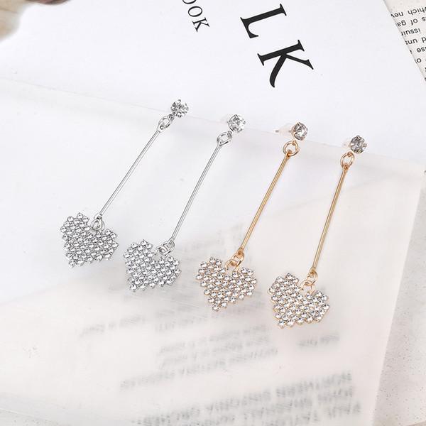 Nouveau produit coréen dames smart pendentif zircon en forme de coeur en argent plaqué longues boucles d'oreilles accessoires de fête de mariage