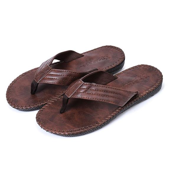 Men's Summer Comfort Breathable Slipper Slip-on Thick Flat Bottom With Slipper Flip-flops Outdoor Slippers Zapatos De Homre 30