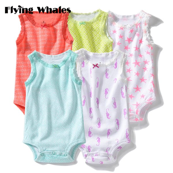 Rompers Sleeveless Soft Cotton Newborn Baby Girls Clothes Infant Jumpsuits Clothing Set Body Toddler 5pcs/lot Roupas Bebes Q190521
