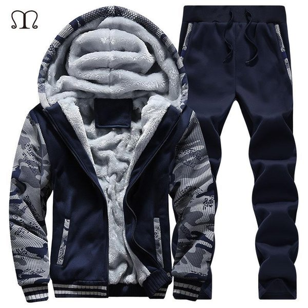 Wholesale- Winter Mens Warm Set Fleece Hoodies for Men Tracksuit Brand Clothing Sudaderas Hombre RunningMens Suits Male Clothing D62
